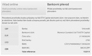Metody vkladu u ETX Capital