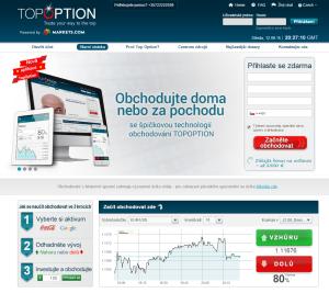 Top Option - webová stránka brokera