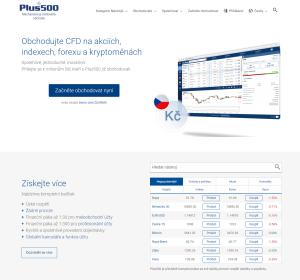 Webová stránka brokera Plus500