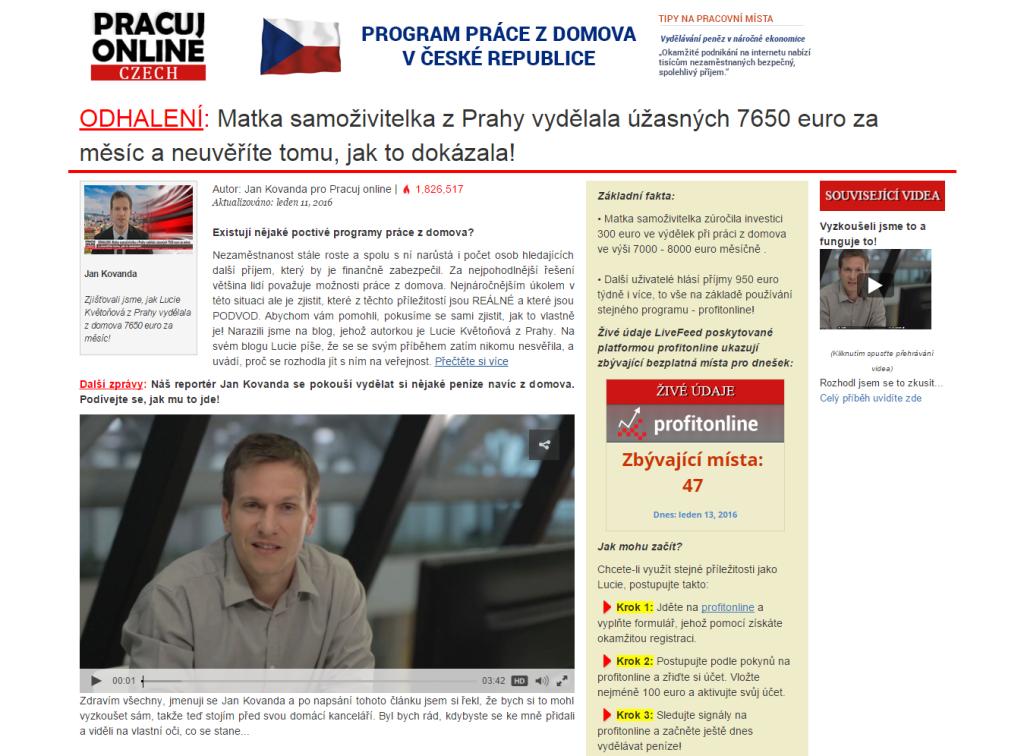 PracujOnline - informační portál, který informuje o příběhu Lucie