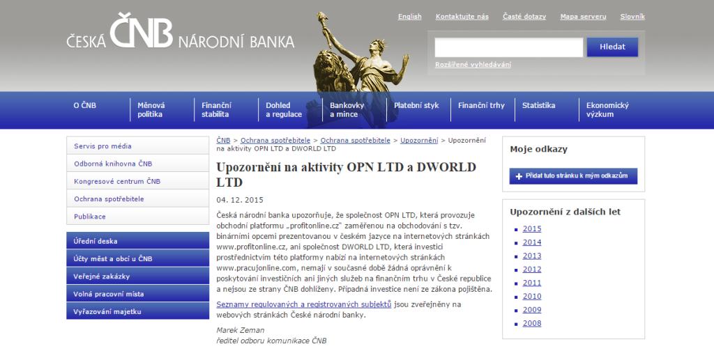 Před projektem ProfitOnline varuje i ČNB
