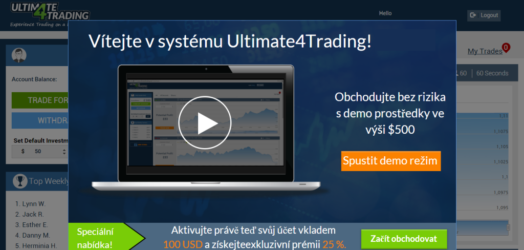 Demo platforma Ultimate 4 Trading