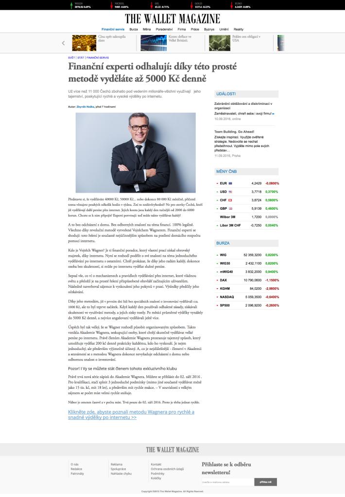 Akademie Wagnera - webová stránka podvodu