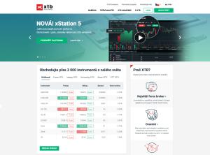 Webová stránka brokera XTB