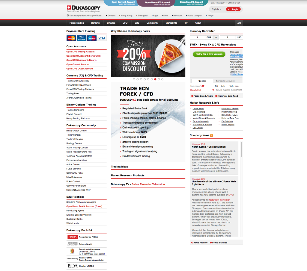 Webová stránka brokera Dukascopy