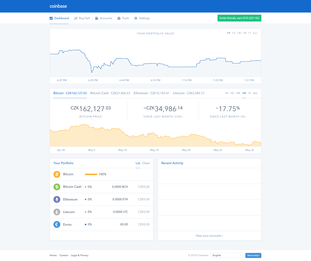 Platforma směnárny Coinbase